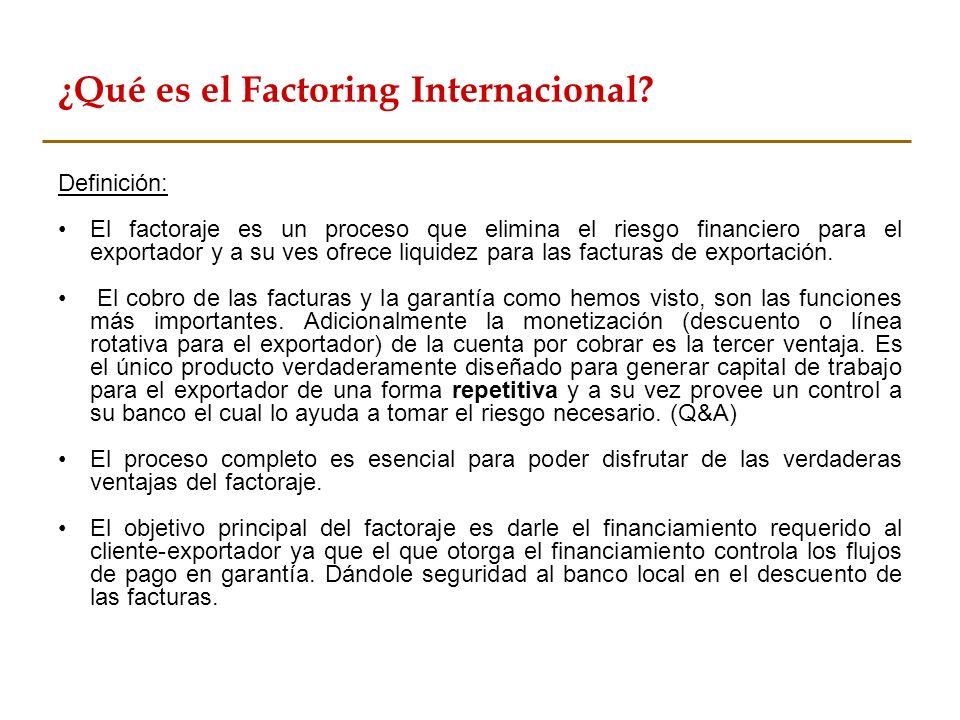 Definición: El factoraje es un proceso que elimina el riesgo financiero para el exportador y a su ves ofrece liquidez para las facturas de exportación