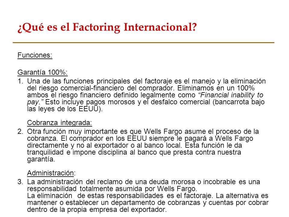 ¿Qué es el Factoring Internacional? Funciones: Garantía 100%: 1.Una de las funciones principales del factoraje es el manejo y la eliminación del riesg