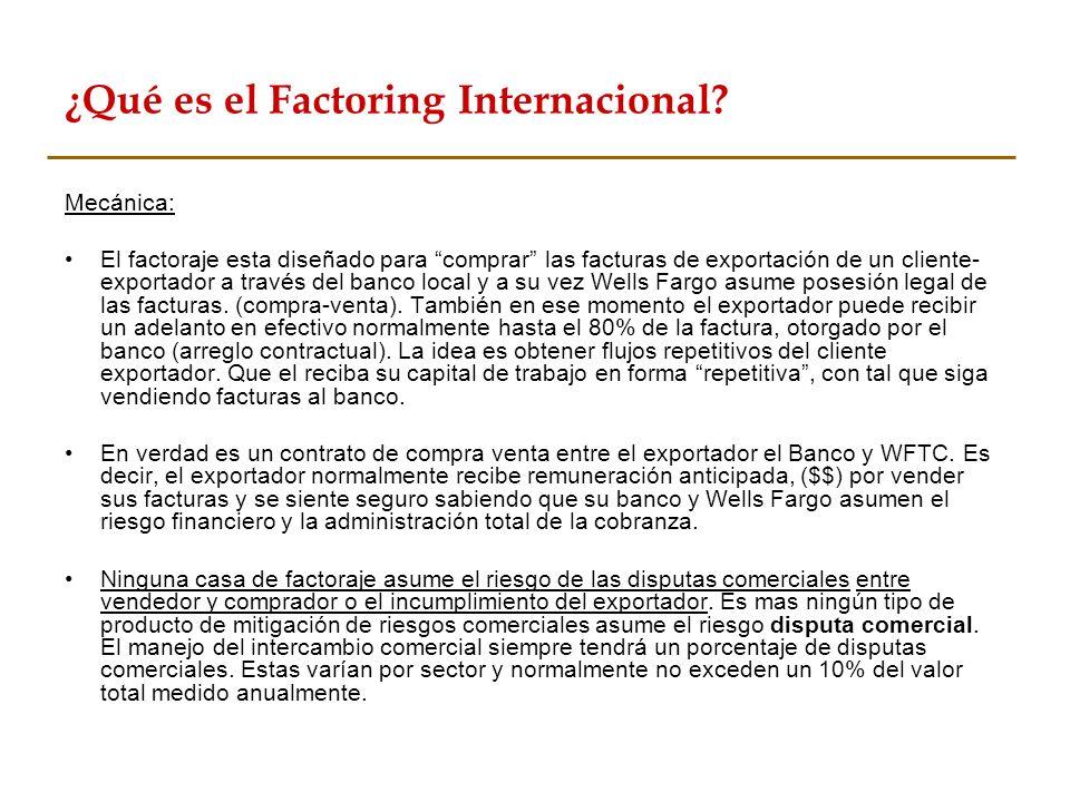 ¿Qué es el Factoring Internacional? Mecánica: El factoraje esta diseñado para comprar las facturas de exportación de un cliente- exportador a través d