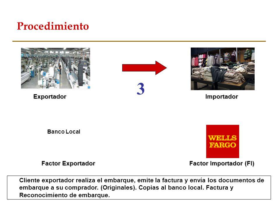 Cliente exportador realiza el embarque, emite la factura y envía los documentos de embarque a su comprador. (Originales). Copias al banco local. Factu