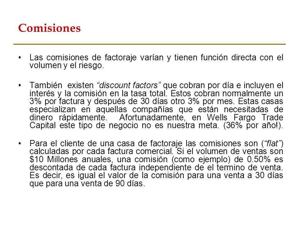 Comisiones Las comisiones de factoraje varían y tienen función directa con el volumen y el riesgo. También existen discount factors que cobran por día