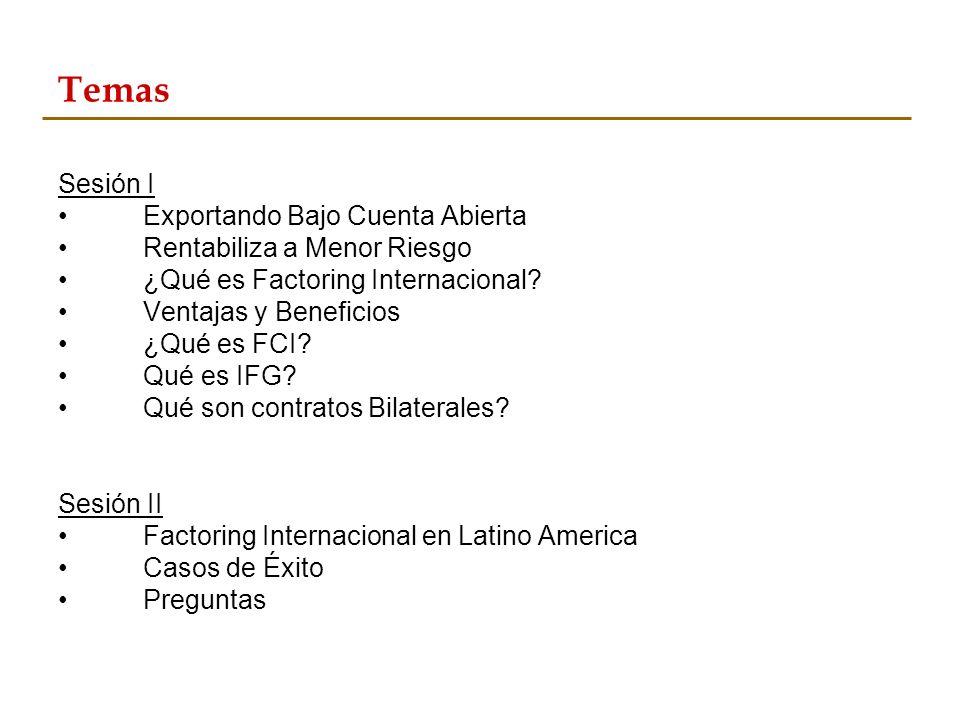 Temas Sesión I Exportando Bajo Cuenta Abierta Rentabiliza a Menor Riesgo ¿Qué es Factoring Internacional? Ventajas y Beneficios ¿Qué es FCI? Qué es IF