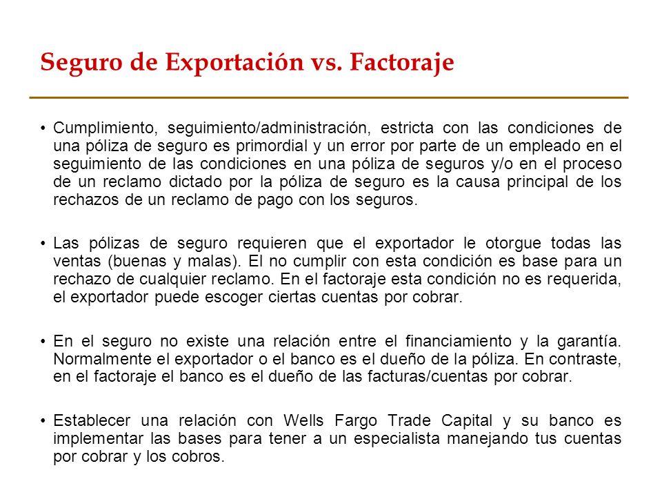 Seguro de Exportación vs. Factoraje Cumplimiento, seguimiento/administración, estricta con las condiciones de una póliza de seguro es primordial y un