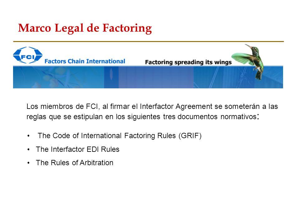 The Code of International Factoring Rules (GRIF) The Interfactor EDI Rules The Rules of Arbitration Los miembros de FCI, al firmar el Interfactor Agre