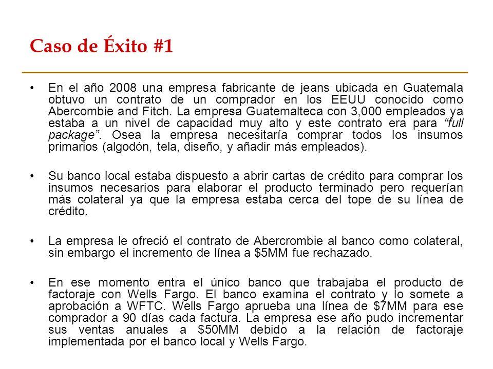 Caso de Éxito #1 En el año 2008 una empresa fabricante de jeans ubicada en Guatemala obtuvo un contrato de un comprador en los EEUU conocido como Aber