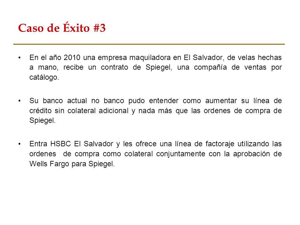 Caso de Éxito #3 En el año 2010 una empresa maquiladora en El Salvador, de velas hechas a mano, recibe un contrato de Spiegel, una compañía de ventas