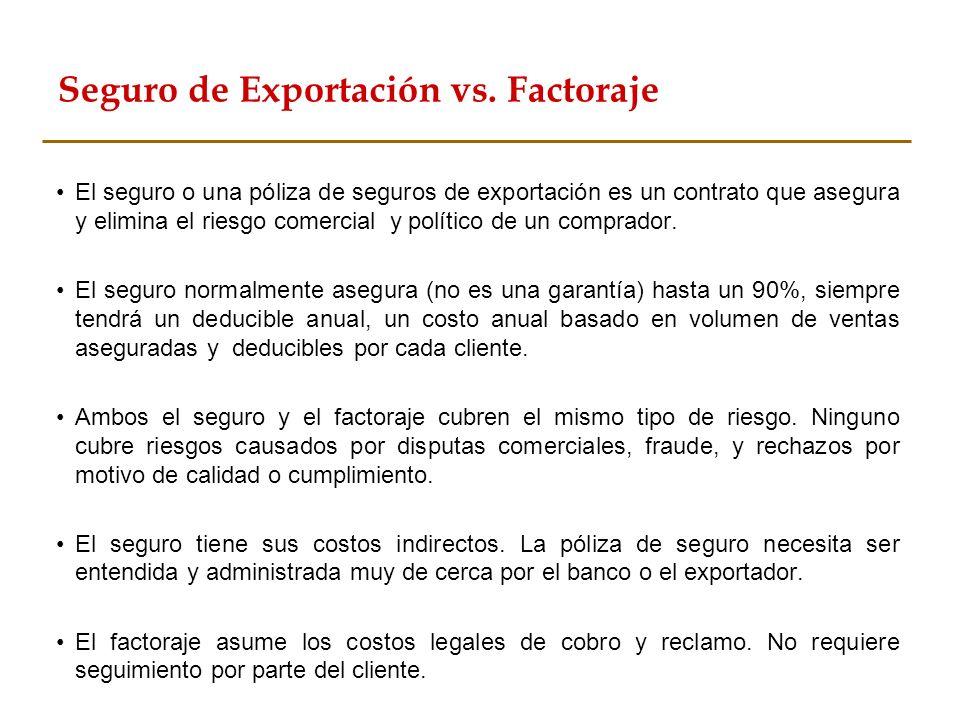 Seguro de Exportación vs. Factoraje El seguro o una póliza de seguros de exportación es un contrato que asegura y elimina el riesgo comercial y políti