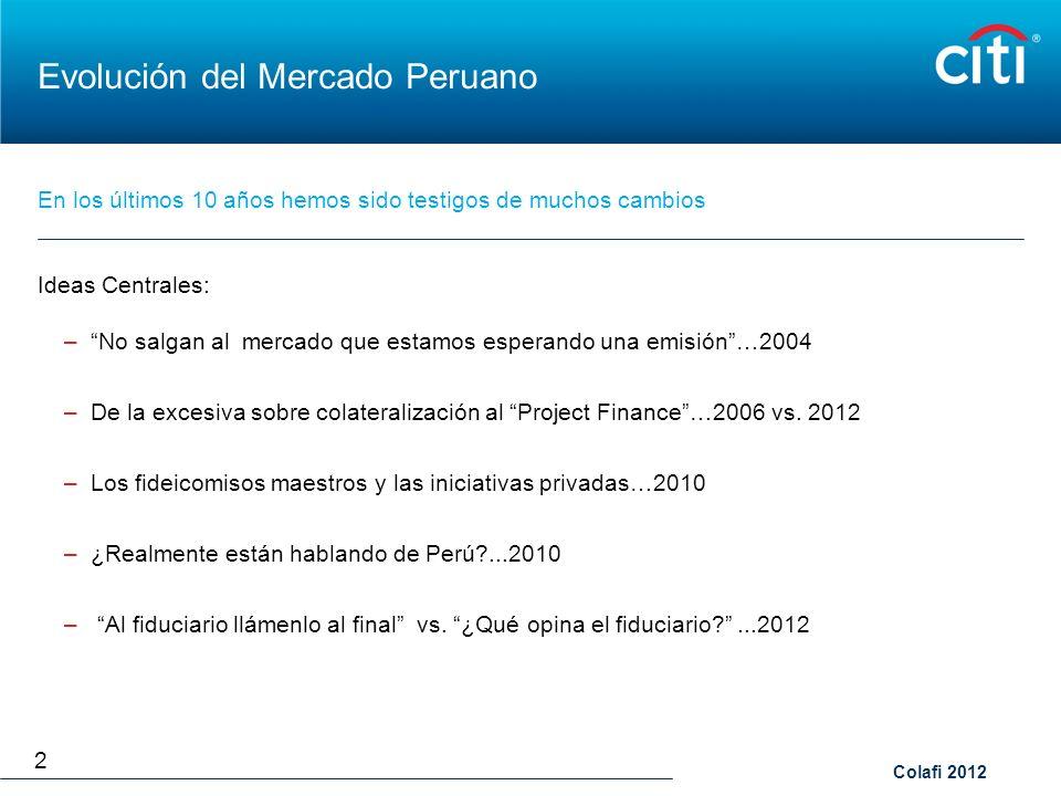 Colafi 2012 Evolución del Mercado Peruano Ideas Centrales: –No salgan al mercado que estamos esperando una emisión…2004 –De la excesiva sobre colatera