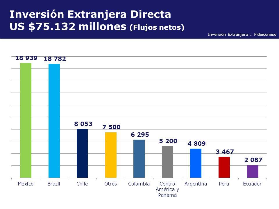 Inversión Extranjera :: Fideicomiso Inversión Extranjera Directa US $75.132 millones (Flujos netos)