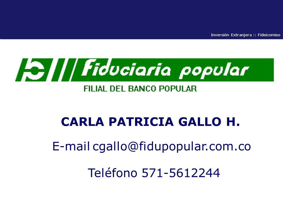 Inversión Extranjera :: Fideicomiso CARLA PATRICIA GALLO H. E-mail cgallo@fidupopular.com.co Teléfono 571-5612244