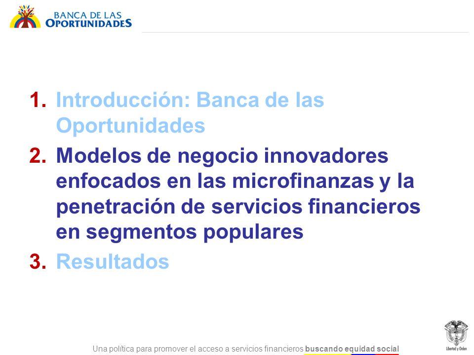 Una política para promover el acceso a servicios financieros buscando equidad social 1.Introducción: Banca de las Oportunidades 2. Modelos de negocio