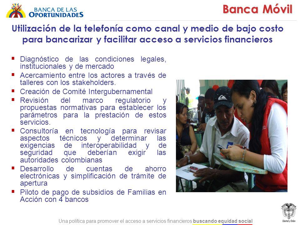 Una política para promover el acceso a servicios financieros buscando equidad social Diagnóstico de las condiciones legales, institucionales y de merc