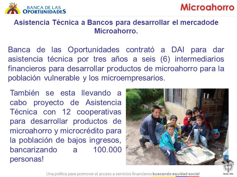 Una política para promover el acceso a servicios financieros buscando equidad social Asistencia Técnica a Bancos para desarrollar el mercadode Microah