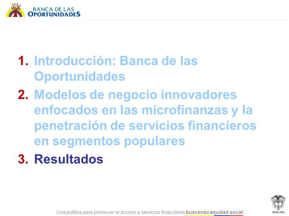Una política para promover el acceso a servicios financieros buscando equidad social 1.Introducción: Banca de las Oportunidades 2.Modelos de negocio i