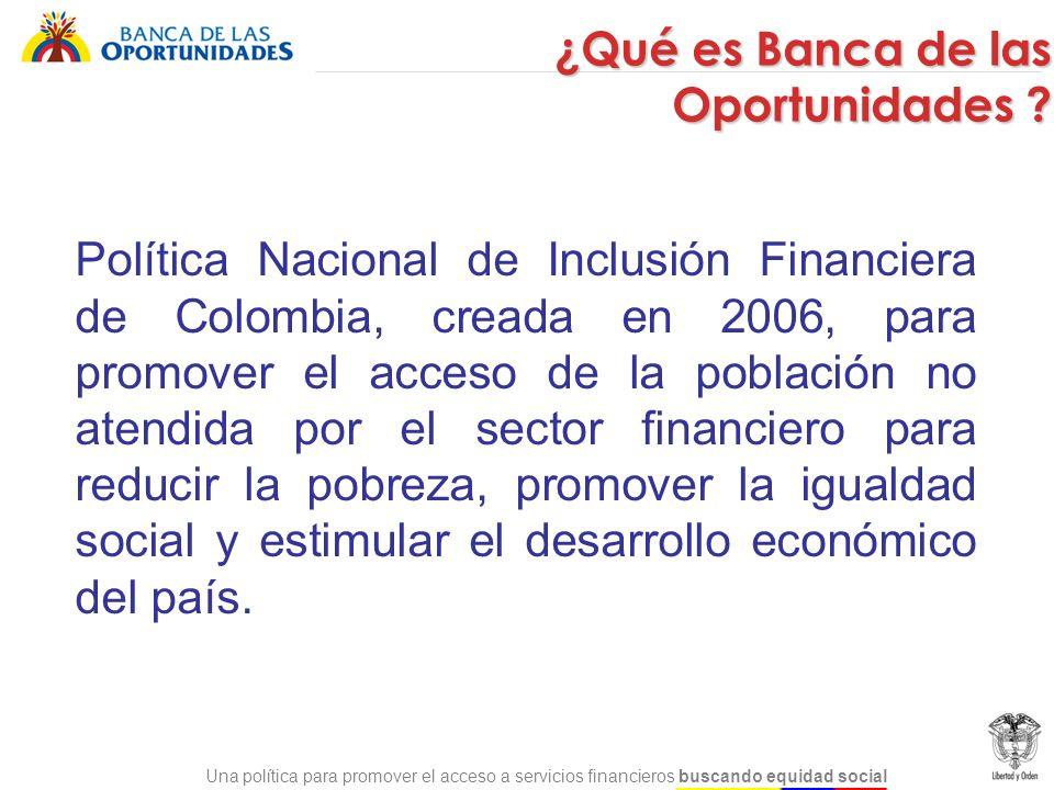 Una política para promover el acceso a servicios financieros buscando equidad social Política Nacional de Inclusión Financiera de Colombia, creada en