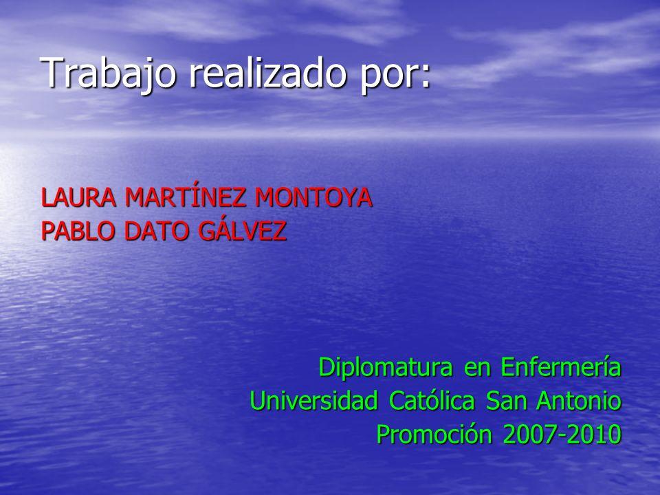 Trabajo realizado por: LAURA MARTÍNEZ MONTOYA PABLO DATO GÁLVEZ Diplomatura en Enfermería Universidad Católica San Antonio Promoción 2007-2010