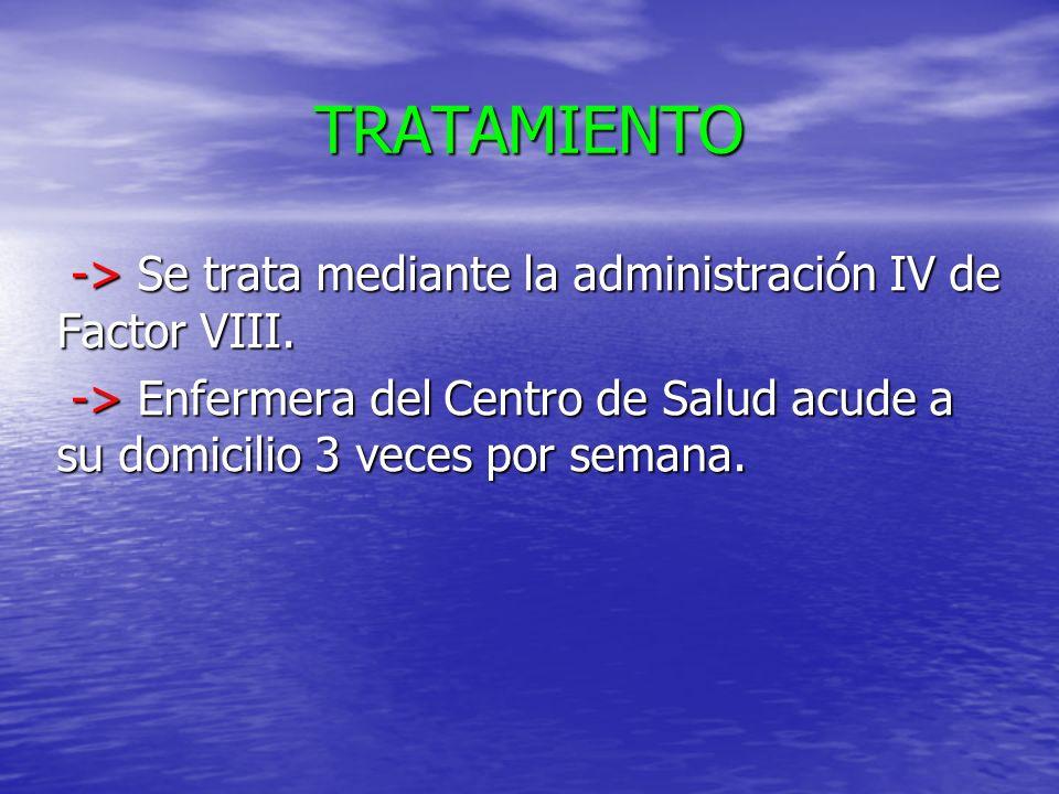 TRATAMIENTO -> Se trata mediante la administración IV de Factor VIII. -> Se trata mediante la administración IV de Factor VIII. -> Enfermera del Centr