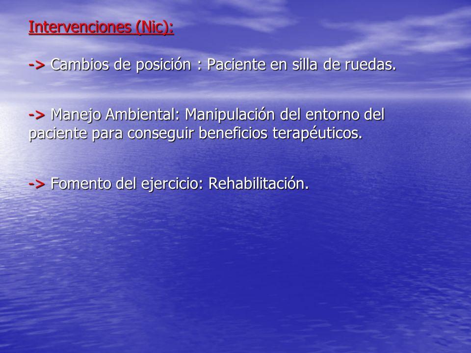 Intervenciones (Nic): -> Cambios de posición : Paciente en silla de ruedas. -> Manejo Ambiental: Manipulación del entorno del paciente para conseguir