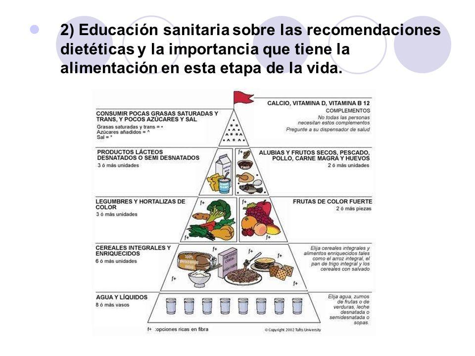 2) Educación sanitaria sobre las recomendaciones dietéticas y la importancia que tiene la alimentación en esta etapa de la vida.