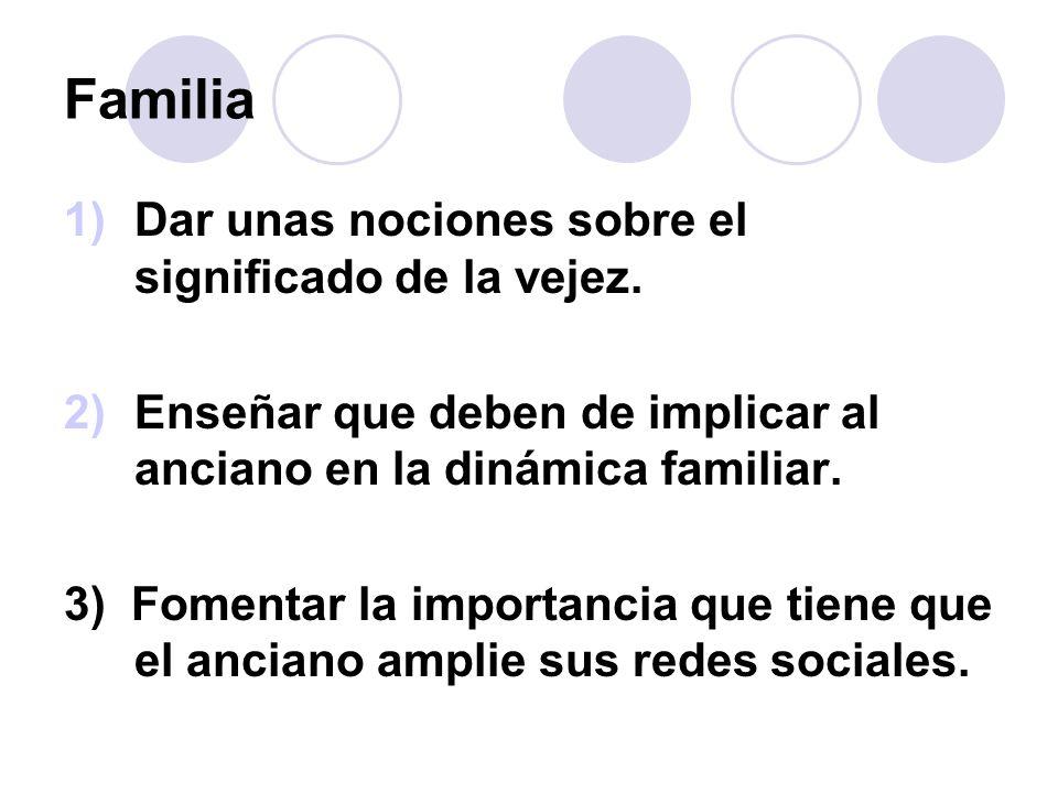 Familia 1)Dar unas nociones sobre el significado de la vejez. 2)Enseñar que deben de implicar al anciano en la dinámica familiar. 3) Fomentar la impor