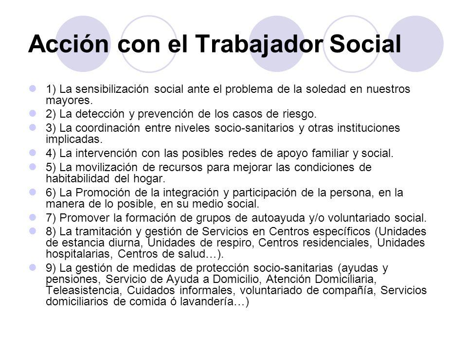 Acción con el Trabajador Social 1) La sensibilización social ante el problema de la soledad en nuestros mayores. 2) La detección y prevención de los c