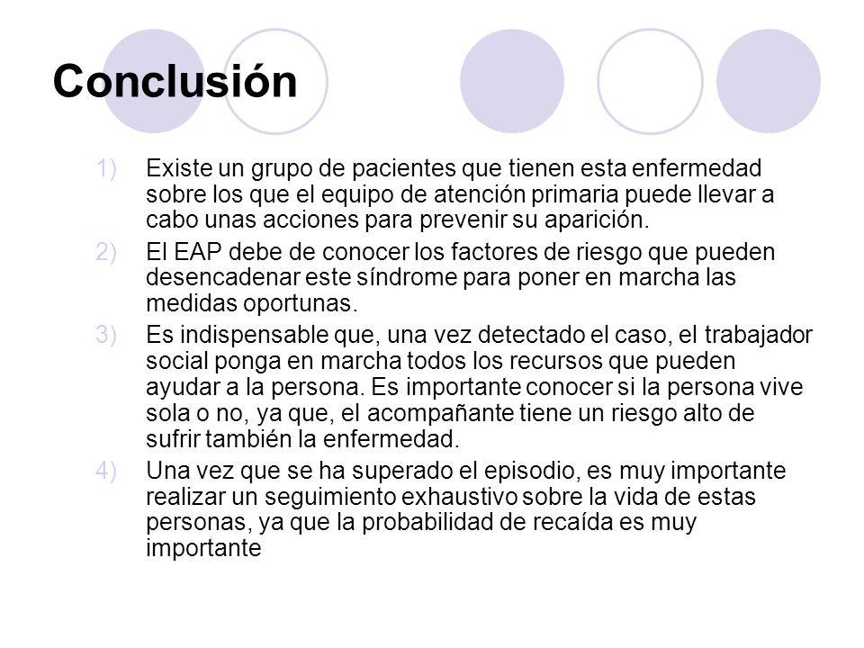 Conclusión 1)Existe un grupo de pacientes que tienen esta enfermedad sobre los que el equipo de atención primaria puede llevar a cabo unas acciones pa