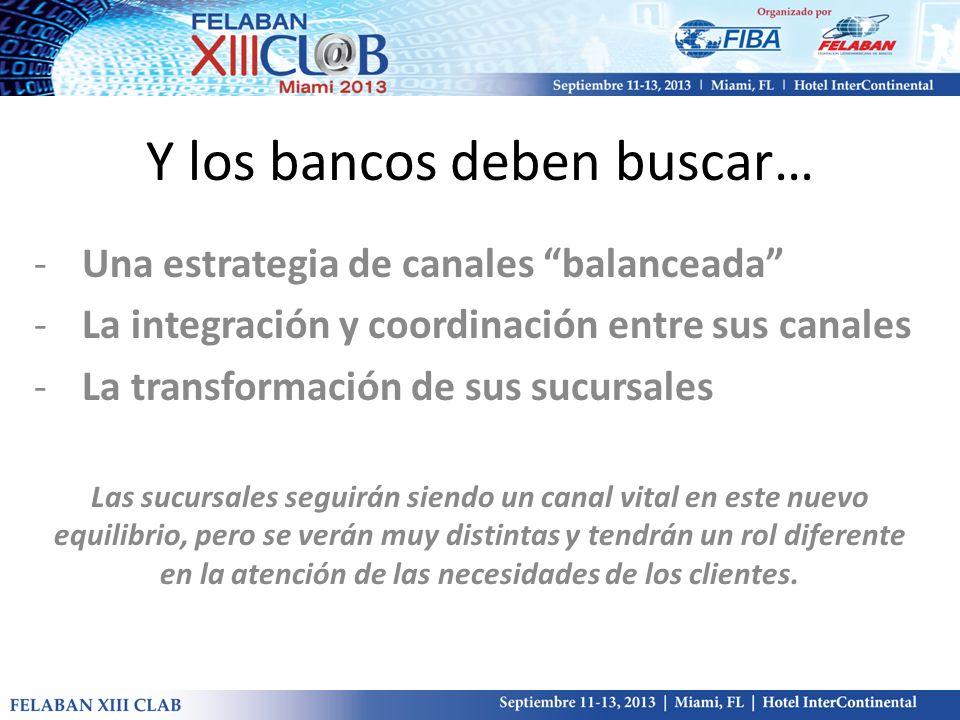 Y los bancos deben buscar… -Una estrategia de canales balanceada -La integración y coordinación entre sus canales -La transformación de sus sucursales