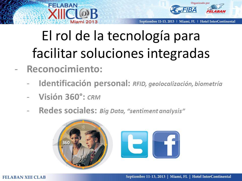 El rol de la tecnología para facilitar soluciones integradas -Reconocimiento: -Identificación personal: RFID, geolocalización, biometría -Visión 360°: