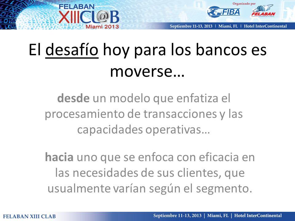 El desafío hoy para los bancos es moverse… desde un modelo que enfatiza el procesamiento de transacciones y las capacidades operativas… hacia uno que