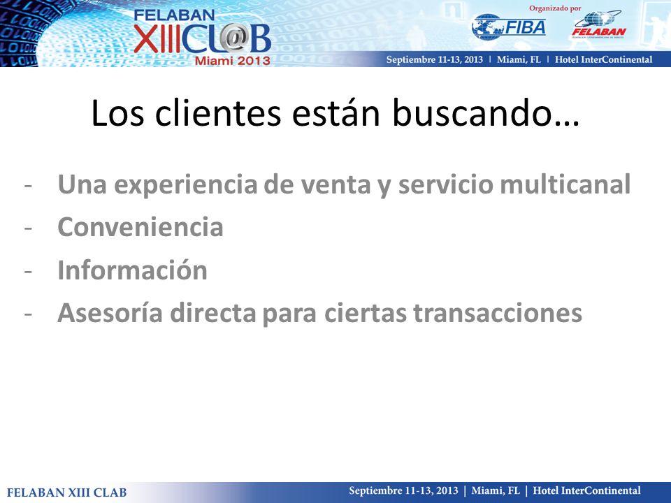 Los clientes están buscando… -Una experiencia de venta y servicio multicanal -Conveniencia -Información -Asesoría directa para ciertas transacciones