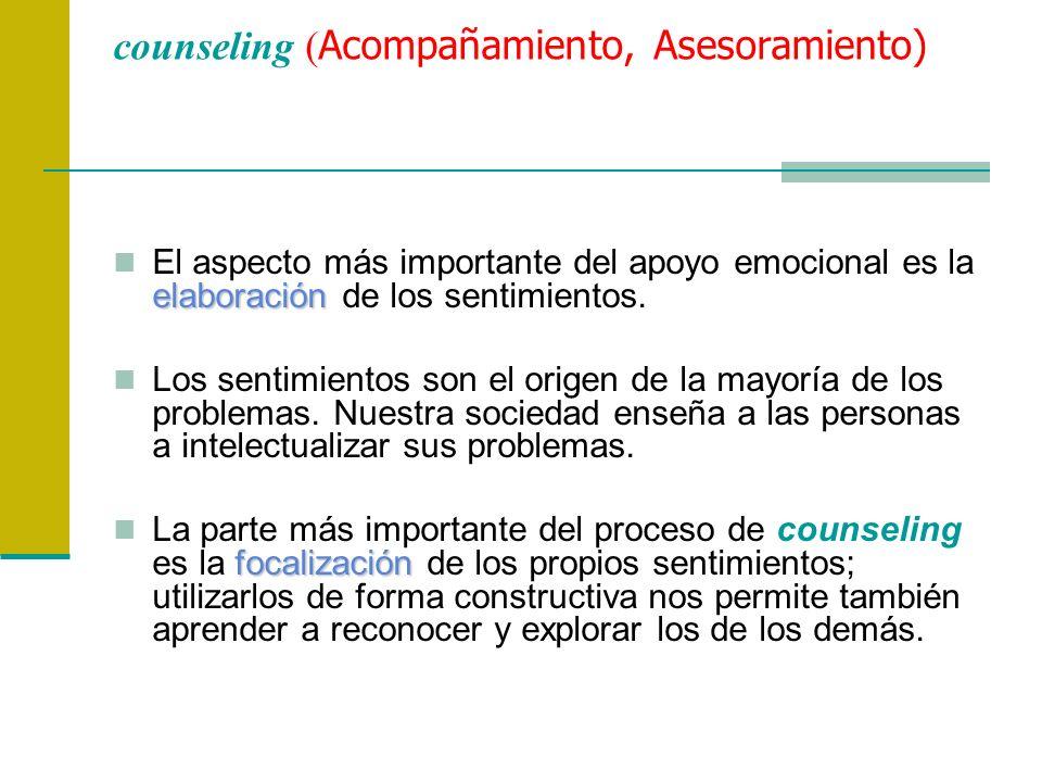 counseling ( Acompañamiento, Asesoramiento) elaboración El aspecto más importante del apoyo emocional es la elaboración de los sentimientos. Los senti