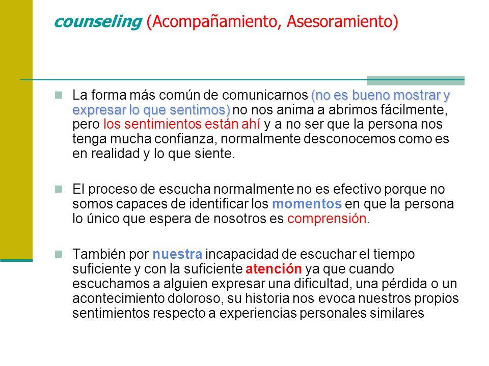 counseling (Acompañamiento, Asesoramiento) (no es bueno mostrar y expresar lo que sentimos) La forma más común de comunicarnos (no es bueno mostrar y