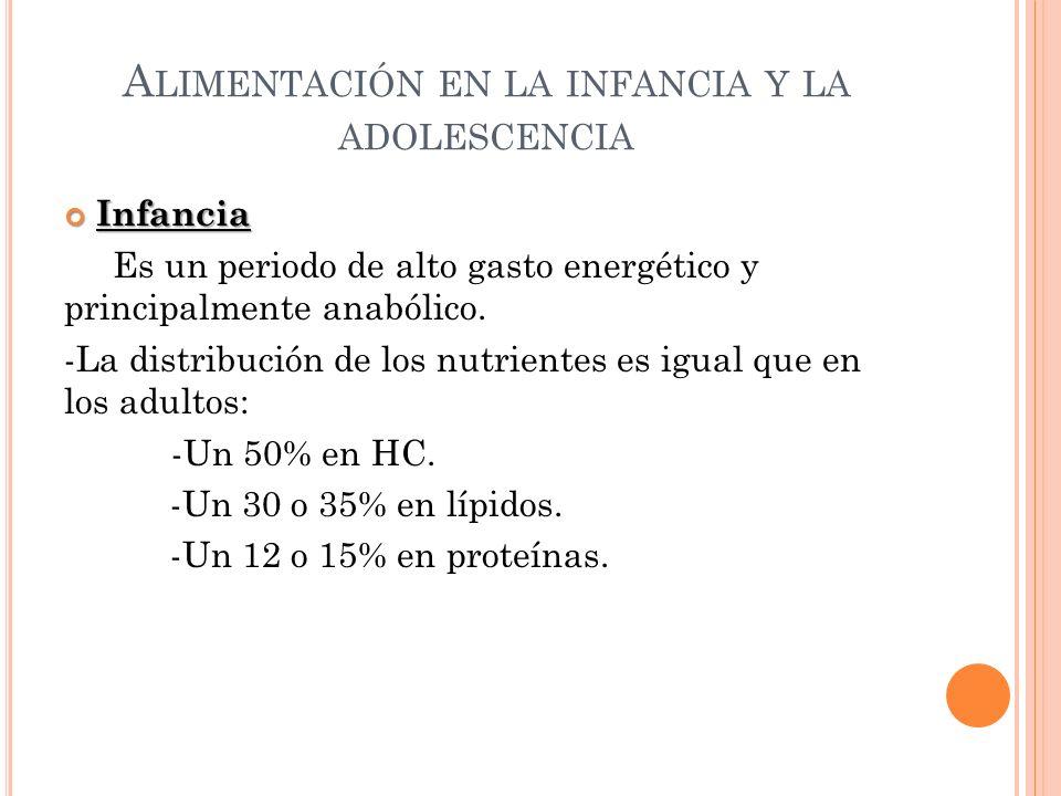 A LIMENTACIÓN EN LA INFANCIA Y LA ADOLESCENCIA Infancia Infancia Es un periodo de alto gasto energético y principalmente anabólico. -La distribución d