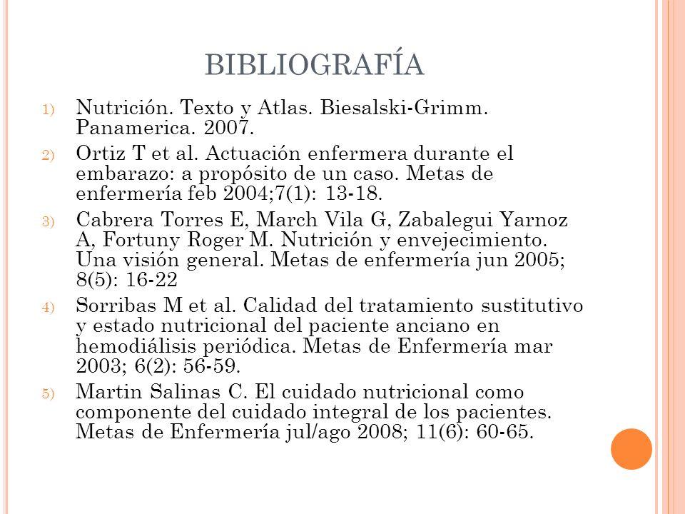 BIBLIOGRAFÍA 1) Nutrición. Texto y Atlas. Biesalski-Grimm. Panamerica. 2007. 2) Ortiz T et al. Actuación enfermera durante el embarazo: a propósito de