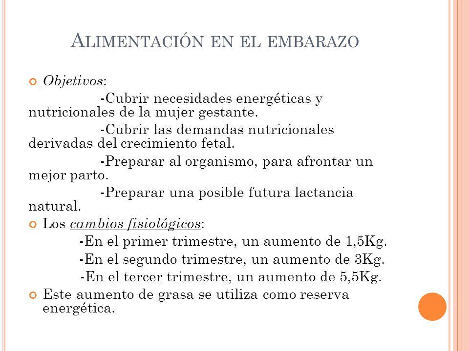 A LIMENTACIÓN EN EL EMBARAZO Objetivos : -Cubrir necesidades energéticas y nutricionales de la mujer gestante. -Cubrir las demandas nutricionales deri