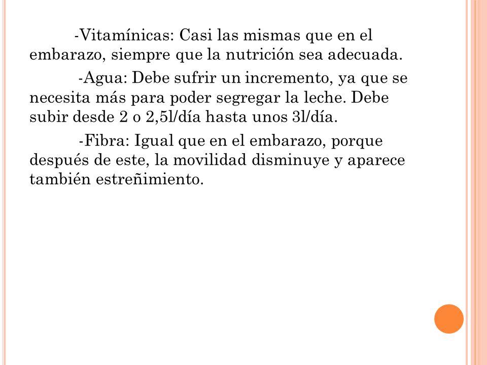 -Vitamínicas: Casi las mismas que en el embarazo, siempre que la nutrición sea adecuada. -Agua: Debe sufrir un incremento, ya que se necesita más para