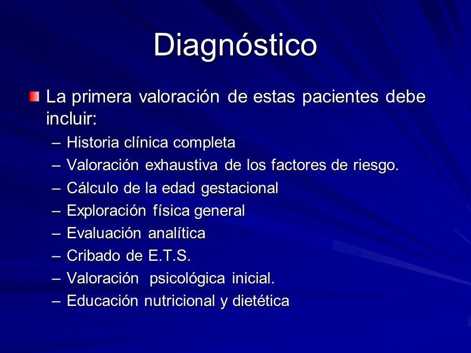 Diagnóstico La primera valoración de estas pacientes debe incluir: –Historia clínica completa –Valoración exhaustiva de los factores de riesgo. –Cálcu