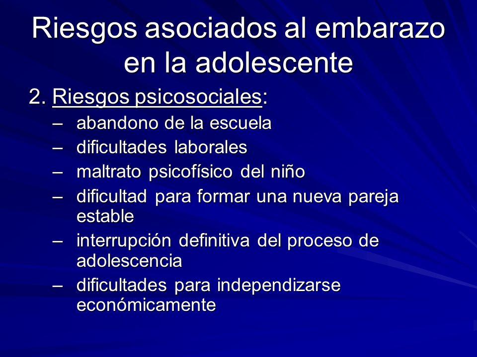 Riesgos asociados al embarazo en la adolescente 2. Riesgos psicosociales: –abandono de la escuela –dificultades laborales –maltrato psicofísico del ni