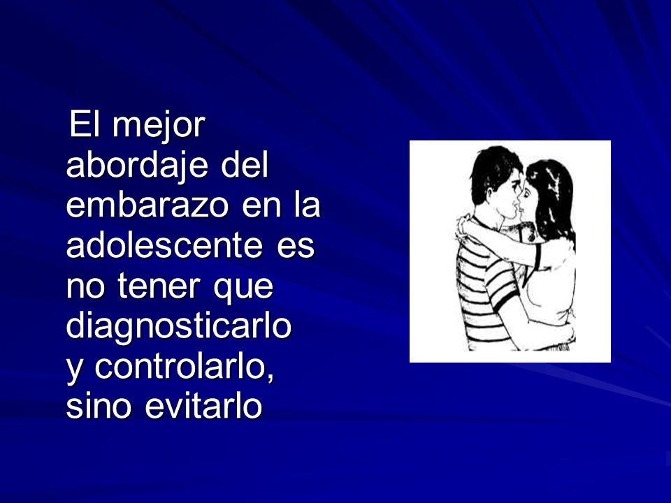El mejor abordaje del embarazo en la adolescente es no tener que diagnosticarlo y controlarlo, sino evitarlo El mejor abordaje del embarazo en la adol