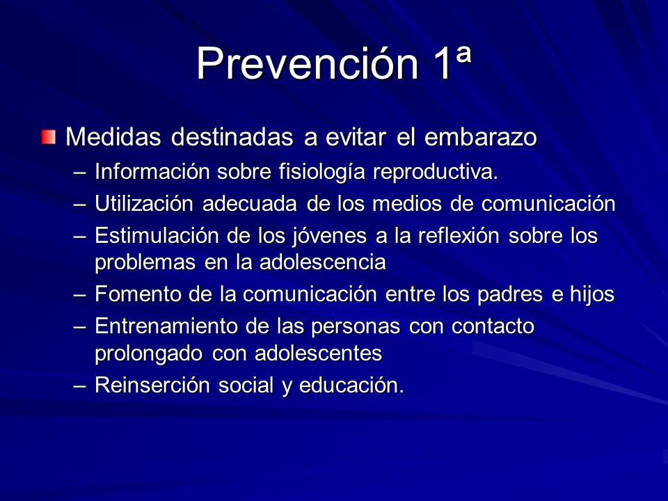 Prevención 1ª Medidas destinadas a evitar el embarazo –Información sobre fisiología reproductiva. –Utilización adecuada de los medios de comunicación