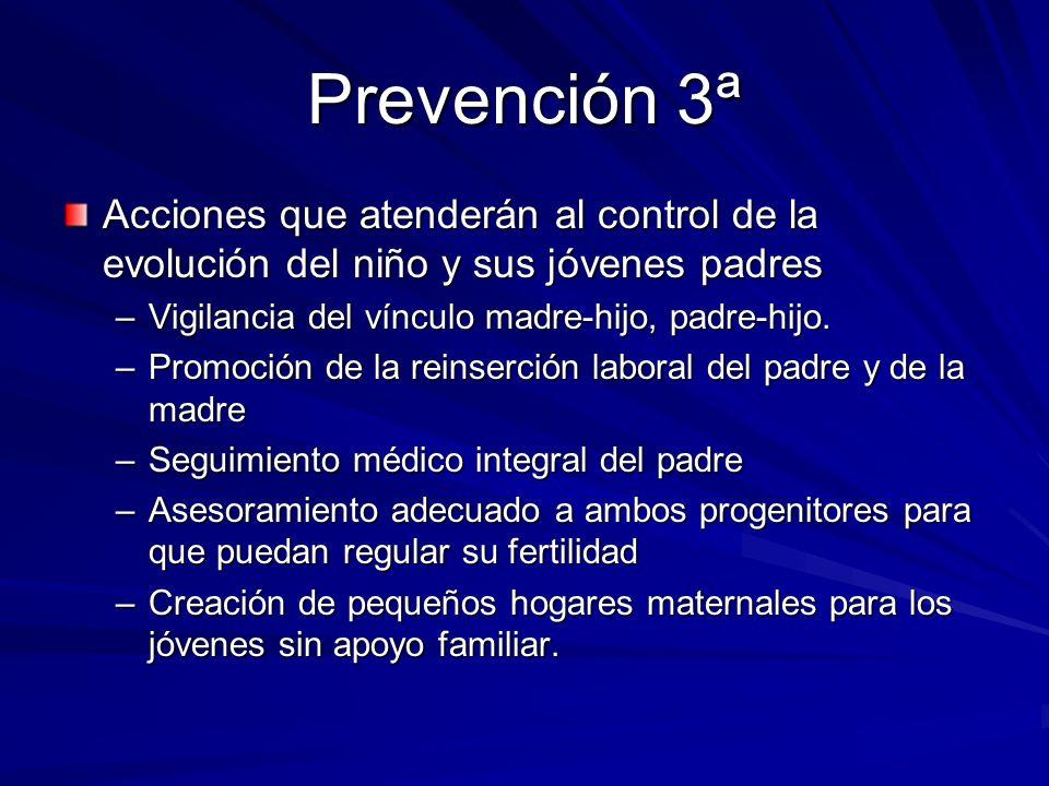 Prevención 3ª Acciones que atenderán al control de la evolución del niño y sus jóvenes padres –Vigilancia del vínculo madre-hijo, padre-hijo. –Promoci