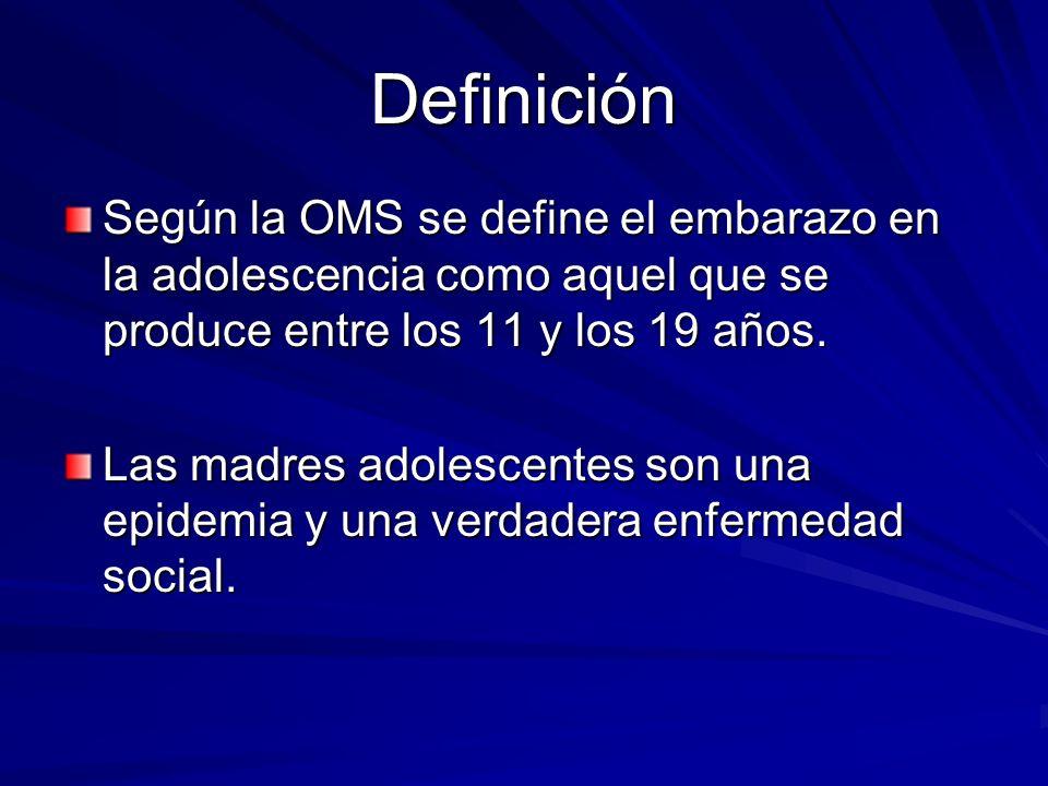 Definición Según la OMS se define el embarazo en la adolescencia como aquel que se produce entre los 11 y los 19 años. Las madres adolescentes son una