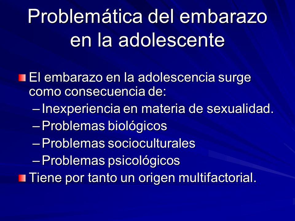 Problemática del embarazo en la adolescente El embarazo en la adolescencia surge como consecuencia de: –Inexperiencia en materia de sexualidad. –Probl