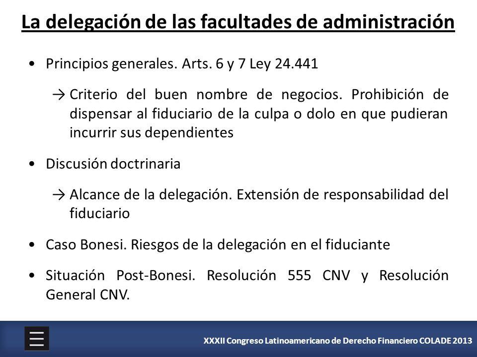 XXXII Congreso Latinoamericano de Derecho Financiero COLADE 2013 La delegación de las facultades de administración Principios generales. Arts. 6 y 7 L