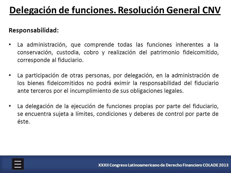 XXXII Congreso Latinoamericano de Derecho Financiero COLADE 2013 Delegación de funciones. Resolución General CNV Responsabilidad: La administración, q