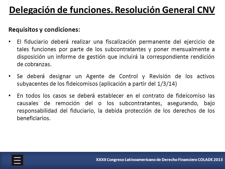 XXXII Congreso Latinoamericano de Derecho Financiero COLADE 2013 Delegación de funciones. Resolución General CNV Requisitos y condiciones: El fiduciar