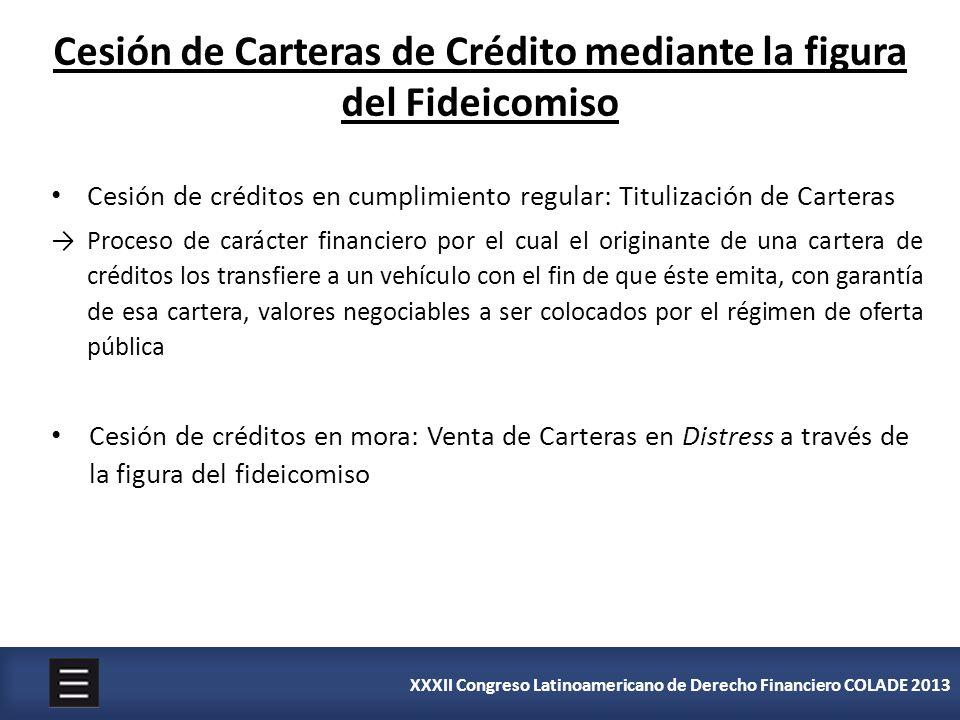 XXXII Congreso Latinoamericano de Derecho Financiero COLADE 2013 Cesión de créditos en cumplimiento regular: Titulización de Carteras Proceso de carác