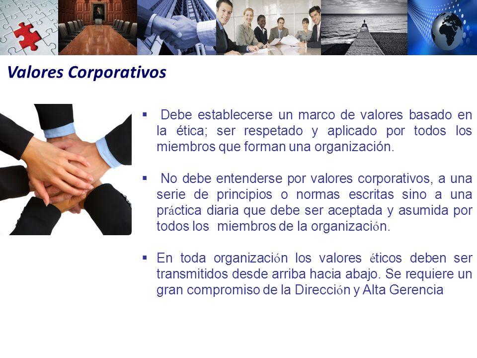 Valores Corporativos Debe establecerse un marco de valores basado en la ética; ser respetado y aplicado por todos los miembros que forman una organización.