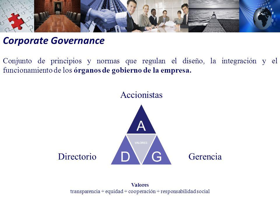 Corporate Governance Conjunto de principios y normas que regulan el diseño, la integración y el funcionamiento de los órganos de gobierno de la empresa.