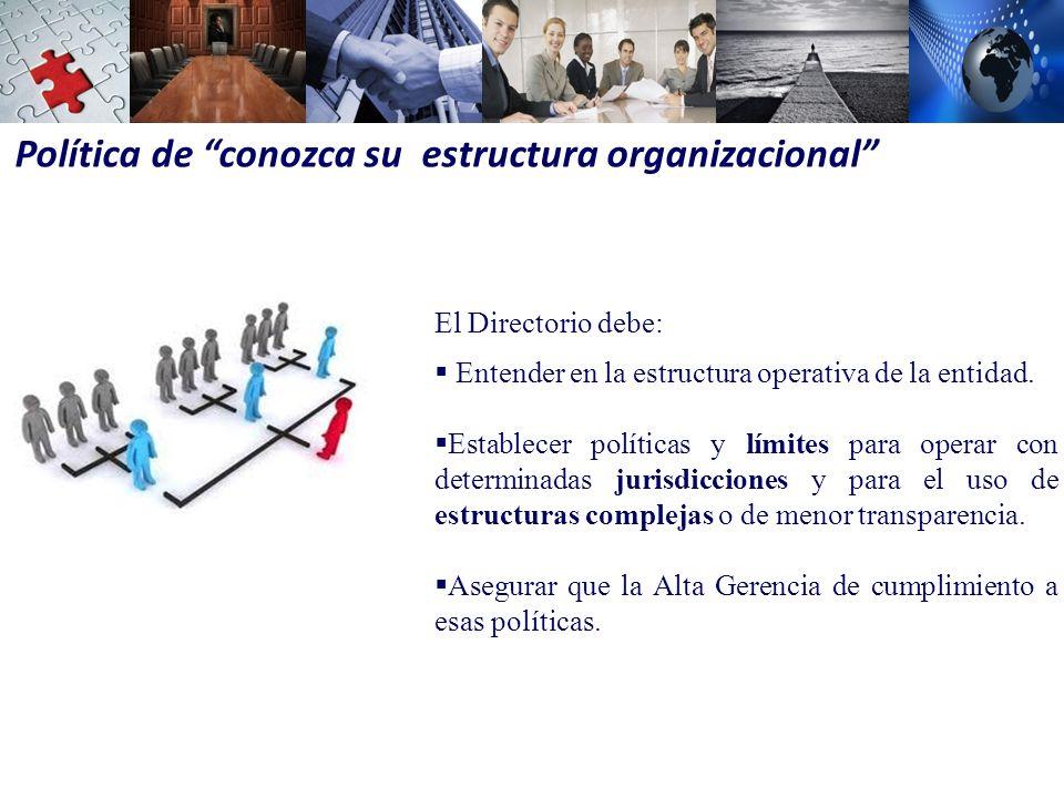 Política de conozca su estructura organizacional El Directorio debe: Entender en la estructura operativa de la entidad.